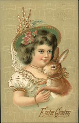 Easter Greeting - Girl with Bunny