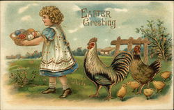Girl With Eggs in Basket Followed By Chickens