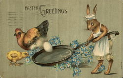 Anthropomorphic Rabbit with Egg in Frying Pan and Chickens