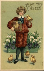 Boy with Chicks and Flowers