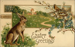 Easter Greetings - Rabbit and Bird with Eggs in a Country Scene