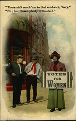 Men Mocking Women's Suffrage Protestor