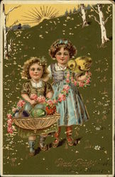 Two Girls on a Hill with Easter Basket, Eggs, and Chick