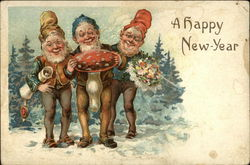 A Happy New Year - Gnomes with a Mushroom and Bouquet