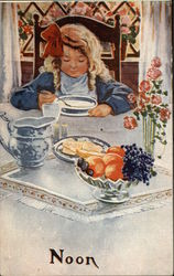 Noon- Girl Eating Soup at Elegant Table