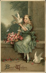 Best Wishes - Girl with Doves