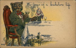 Anthropomorphic Bear Sitting at Table in Suit Drinking
