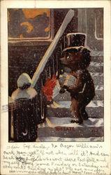 Anthropomorphic Sad Bear Watching Couple through the Window