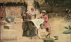 Syrian Family with Singer Sewing Machine
