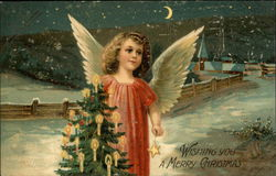 Angel with a Christmas Tree in Snow Scene at night
