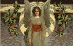 Winged Angel with Holly Sprigs
