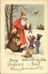 Santa Giving Toys to Children - Outside with Snow