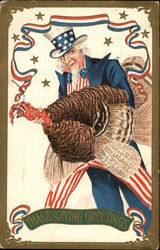 Thanksgiving Greetings-Uncle Sam With a Turkey