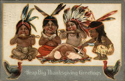 American Indian Children in Native Dress Eating Turkey
