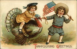 Thanksgiving Greetings. Boy with Flag and Girl on Turkey