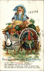 Laughing Girl on Wagon with Vegetables Pulled by a Duck and Turkey