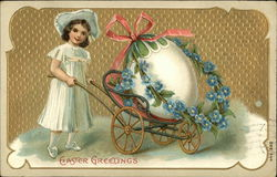 Young Girl Pushing Giant Egg in Cart with Flowers