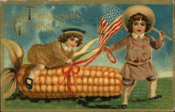 Thanksgiving Greetings - Children, USA Flag and Corn