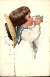 Boy in Sailor Suit Drinking from a Glass