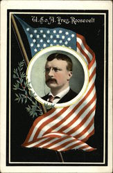 U.S.o.A. Pres. Roosevelt Portrait with American Flag
