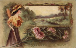 Woman with Oar Looking onto River Scene, Flowers