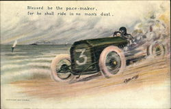 Masked Racer in Green Sportscar Marked No. 3 Speeds Along the Shore