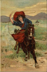 Woman on Horseback with Lasso