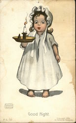 Little Girl in Nightgown Holding a Candleholder with Lit Candle