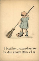 Little Girl Sweeping with Dustpan Under Foot