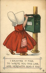 Girl with Bonnet and Purse Mailing Letter