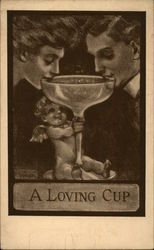 Woman and Man Drink from a Loving Cup that Cupid is Holding