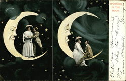 Spooning In The Moon. - Couple Romancing on a Moon and Among the Stars