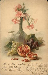 Still Life of Pink Flowers in Vase, Grapes and Pomegranate