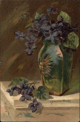 Still Life Illustration Purple Flowers in Vase