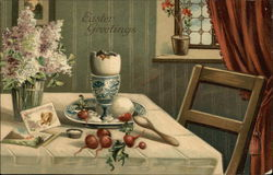 Easter Greetings - Table at Home with Flowers, Cards and Food