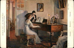Ed Gelhay Painting - Woman Playing Piano with Admirer