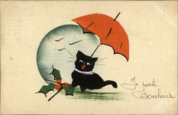 Black Cat with Umbrella