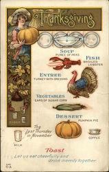 Thanksgiving Meal Menu With Girl Holding Pumpkin and Illustrated Courses