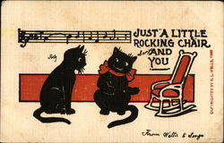 Two Black Cats, Rocking Chair, Musical Tune and Notes