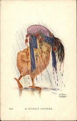 A Sudden Shower. - Chick with a Hat in the Rain