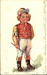 Young Jockey Boy in Red Jacket and Striped Cap