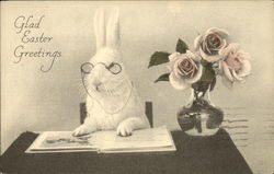 White Rabbit in Spectacles, Reading a Book