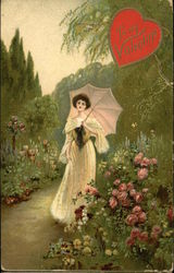 Woman with Umbrella in Rose Garden