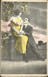 Man wooing Woman in Yellow Dress