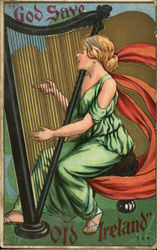 """God Save Old Ireland"" - Lady Playing Harp Postcard"