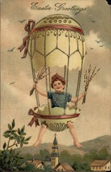 Easter Greetings - Child in Floating Egg