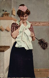 Woman Holding Feather Duster