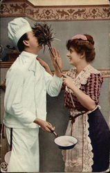 Man and Woman in Kitchen - Playful