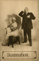 Black Woman Sitting with Umbrella, Man Standing