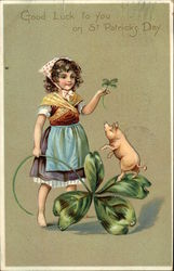 Girl with Pig and Four Leaf Clovers